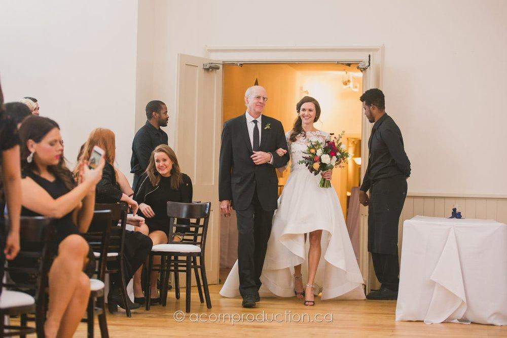 bride entering the enoch turner schoolhouse west hall