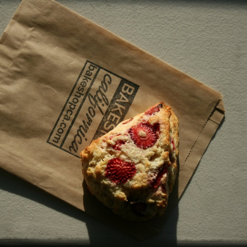 Scone of the Week: STRAWBERRY! - The days are getting longer and the weather is getting warmer which means strawberries are getting sweeter and riper! That just make our strawberry scones that much more delicious.Add to your subscription: 3 for $7.50 or 6 for $15