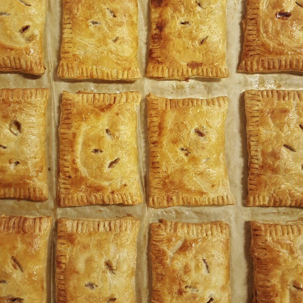 Treat of the Week: APRICOT HAND PIES - For her day job Alexa works at a stone fruit farm. Apricots are one of the first trees to bloom. Unfortunately the do it right on the cusp of spring which leaves their blooms vulnerable to late winter storms. So any time there is a good crop is cause to celebrate! What better way than with apricot hand pies.Add to your subscription: 3 for $9 or 6 for $18
