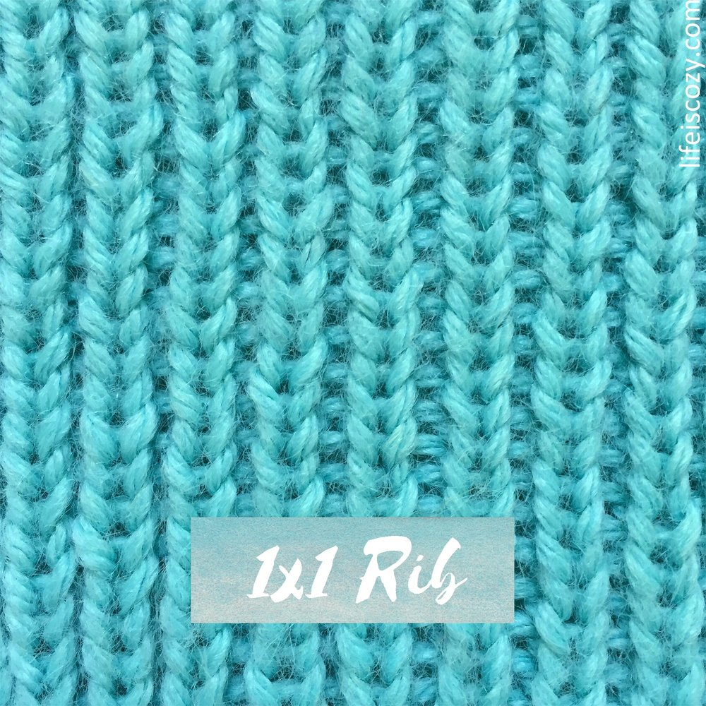 1x1 Rib Stitch Simple Ribbing How to knit