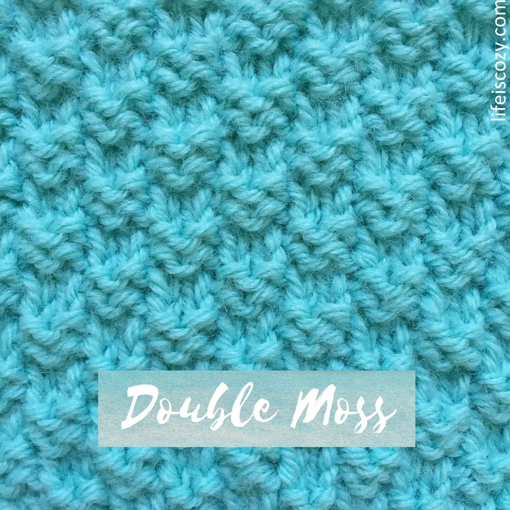 Double Moss Checkerboard Stitch How to knit