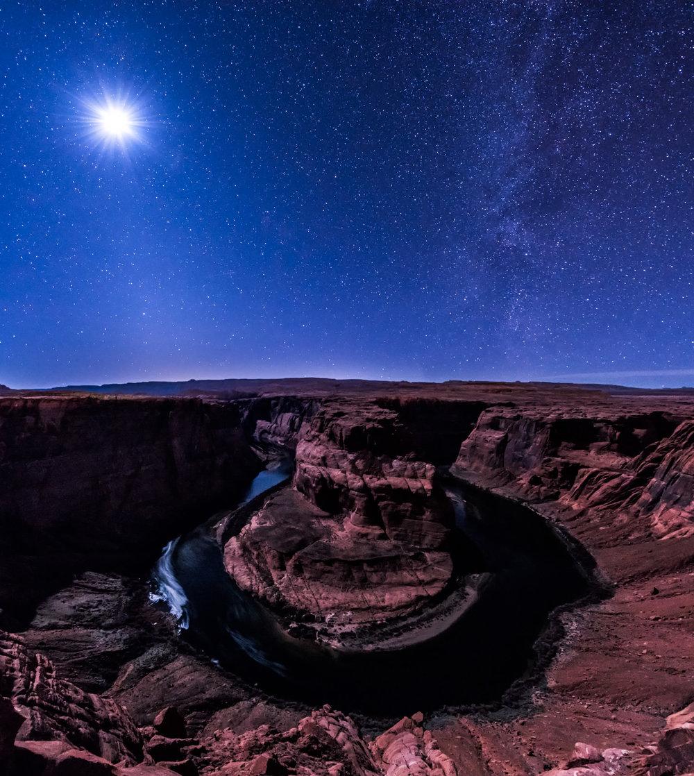 Moonlit Milky Way Over Horseshoe Bend