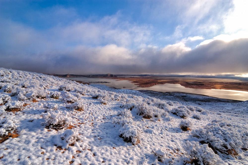 Snowy Sunrise Over Wahweap Bay