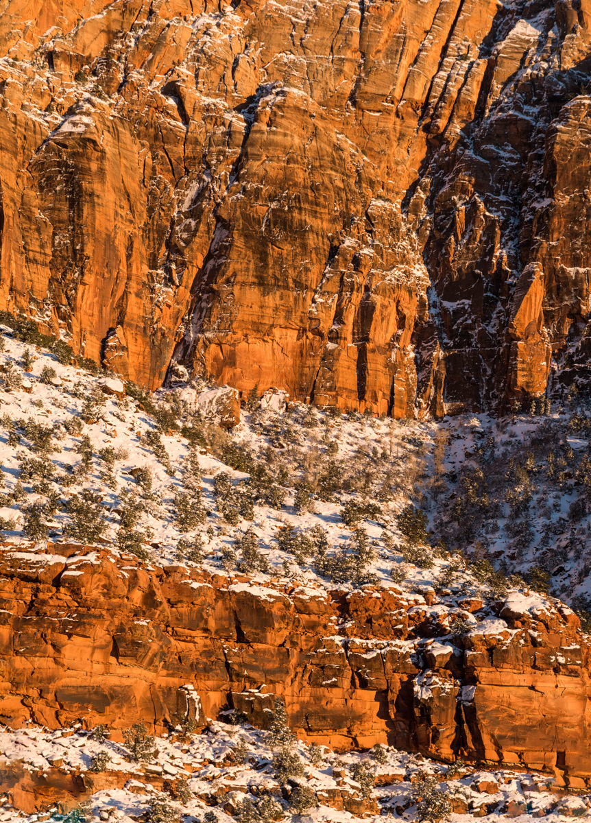 An early winter storm dumped 18 inches of snow on Zion National Park in December 2013 blanketing the ledges of the Navajo Sandstone cliffs with fresh snow throughout Zion Canyon.