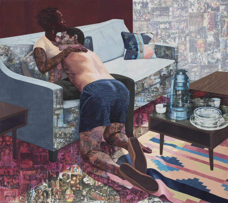 """""""Ike Ya"""" 2016. Acrylic paint, colored pencil, charcoal and photo transfers on paper. Collection of The Hammer Museum, Los Angeles. Image courtesy of Njideka Akunyili Crosby."""