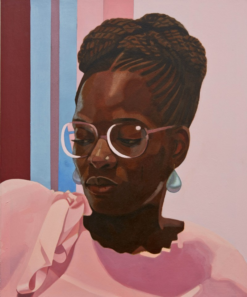 """""""Then You Lost Me"""" 2013.Oil and acrylic on printed paper mounted on board. Rosen Capellazzo Collection, New York. Image courtesy of Njideka Akunyili Crosby."""