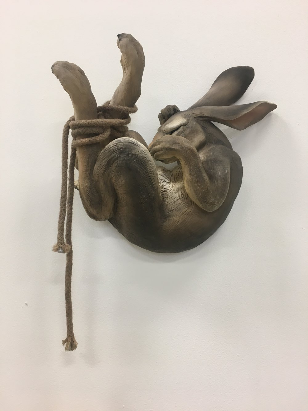 Hit The Ground Running,  Megan Doebrich. Ceramics, rope and acrylic paint. Image courtesy of Lauren Darpel.