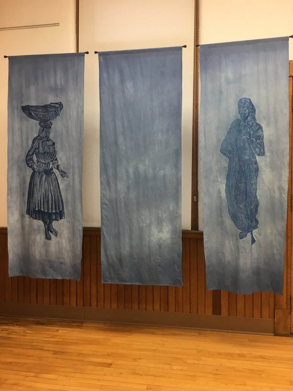 Varina, Peixinhos,  and  Pescador,  Gabriella Sapata. Woodcut on muslin and animation. Image courtesy of Lauren Darpel.