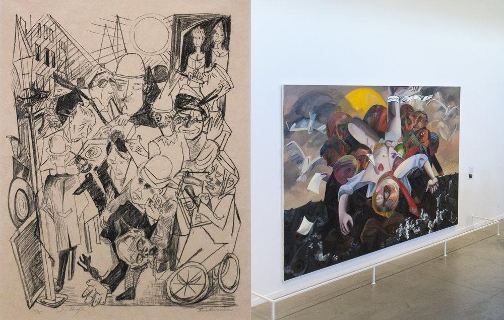 Max Beckmann, Hell The Street, 1919, Lithograph AND Dana Schutz, Deposition, 2017, Oil on Canvas.jpg
