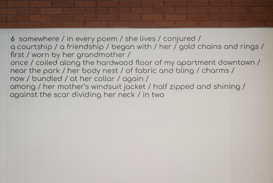 Elese Daniel,  incantations for her  (stanza 6), 2019. Photo courtesy of the Weston Art Gallery.