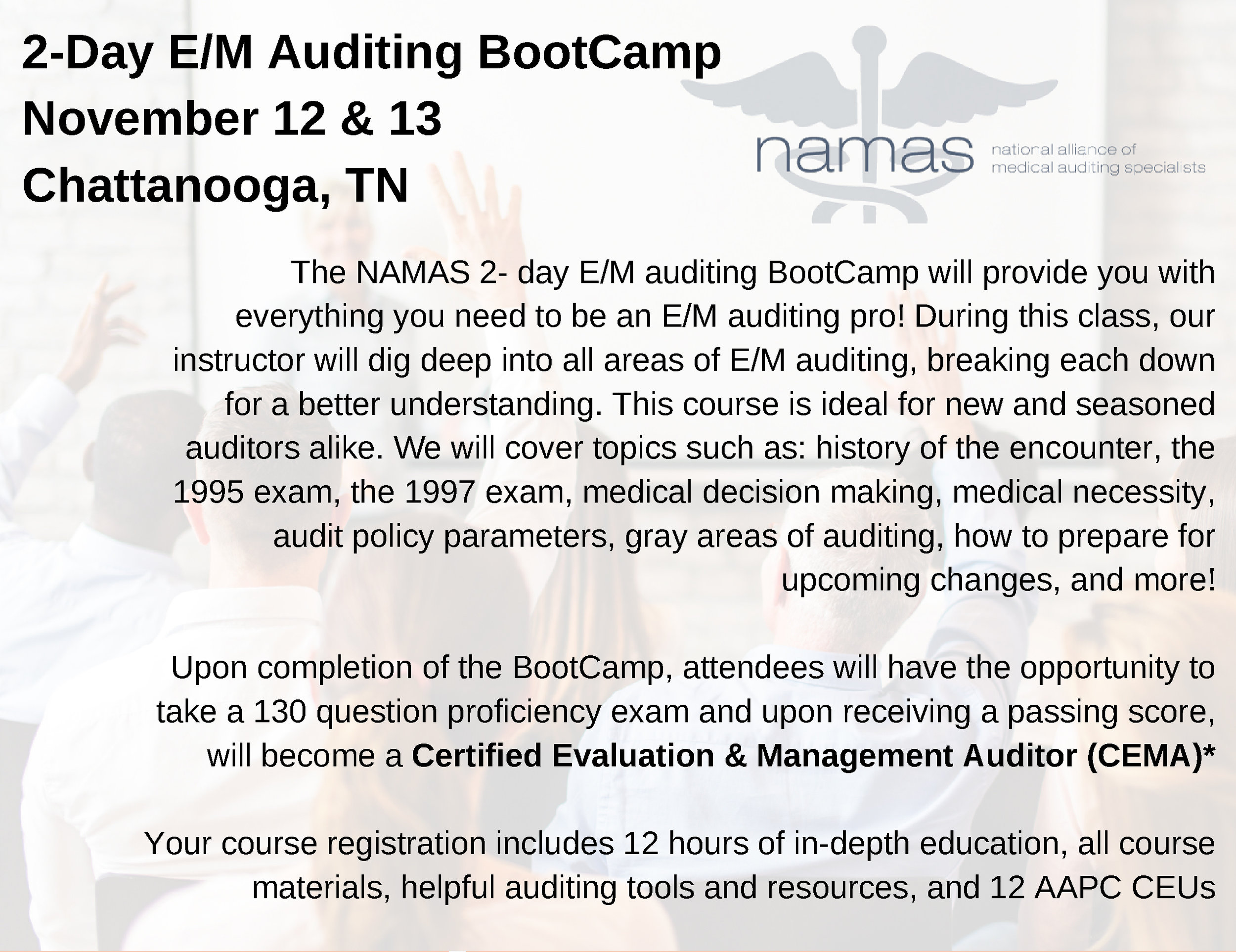 2-Day E/M Auditing BootCamp - Nov  12-13 — Medical Society