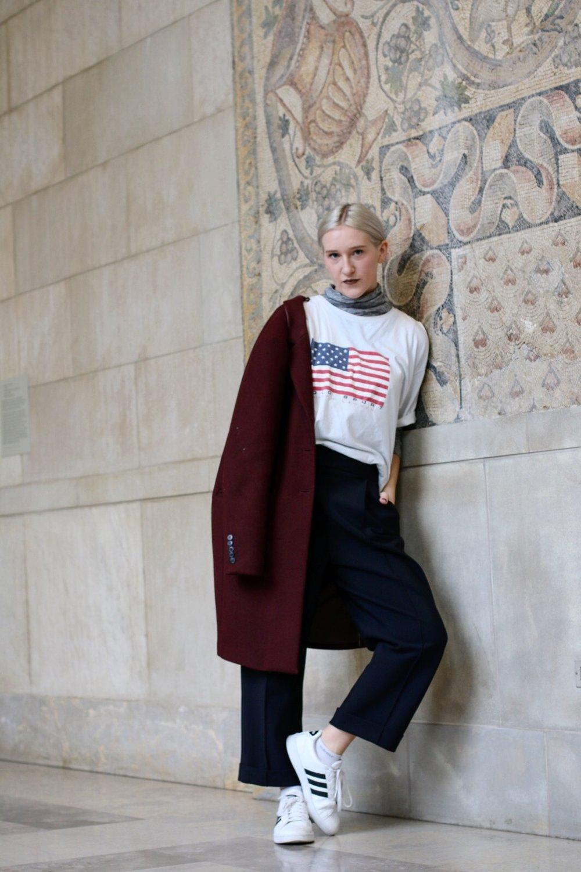 Polo Ralph Lauren tee; J.Crew grey turtleneck; Schella Kann trousers; Mango coat; Adidas sneakers