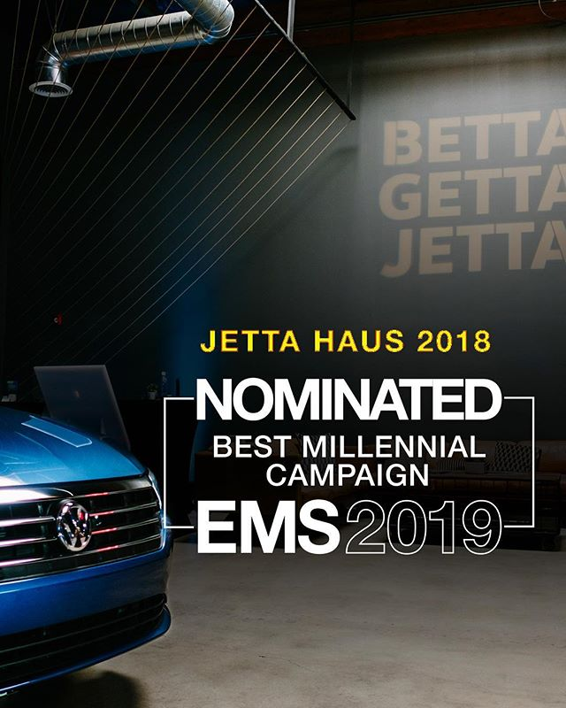WE'RE NOMINATED! 🏅  We're excited to announce that our work for Volkswagen's Jetta Haus, has been selected as an Event Marketer finalist for the 2019 EX AWARDS: Best Millennial Campaign!  We love creating killer experiences and Jetta Haus was certainly a hit. Winners announced May 14 - stay tuned!  #jettahaus #exawards #emslive