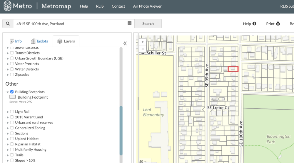 """Here's what our subject property looks like with Taxlots and Building Footprint selected on """"Layers"""""""