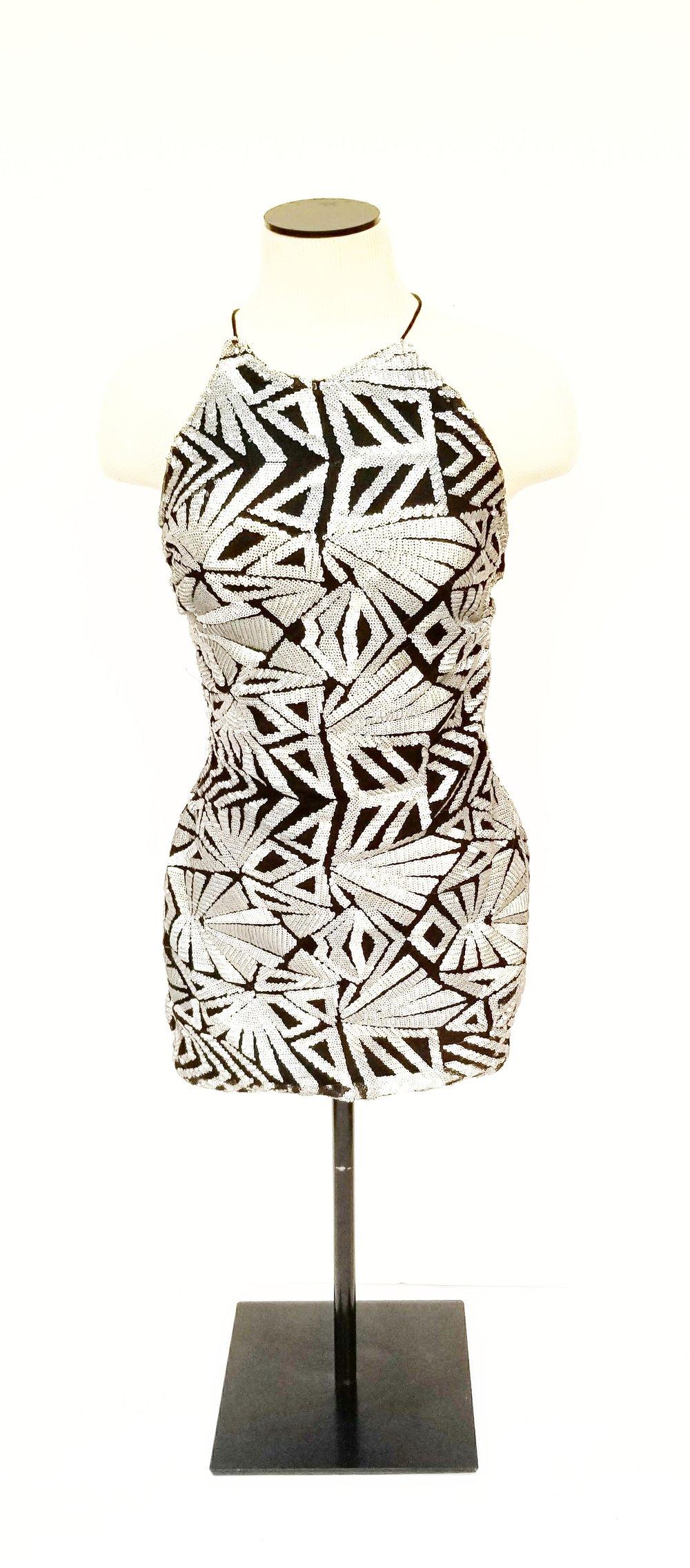 Sequined Art Deco Mini Dress (front)