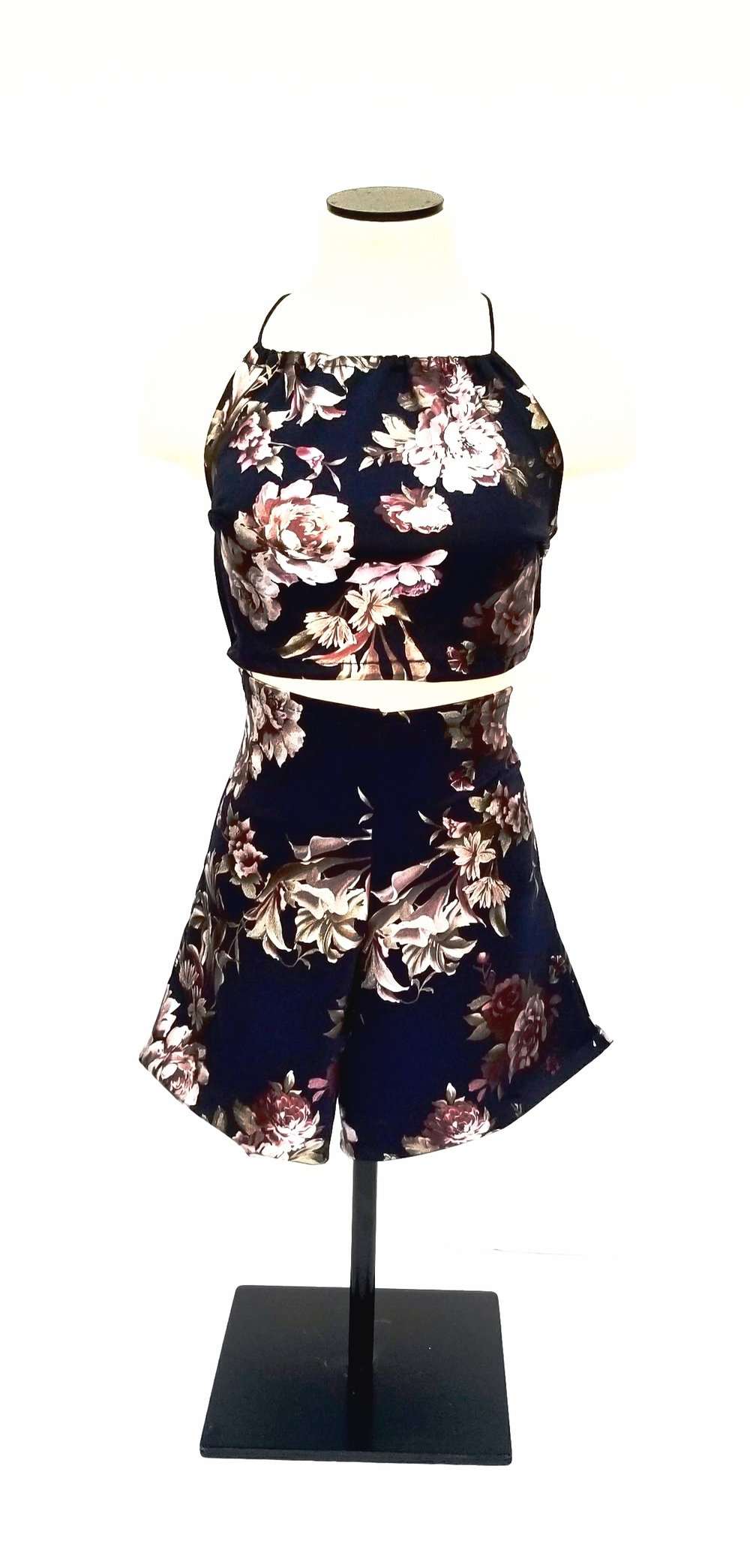Navy Floral Two Piece (front)