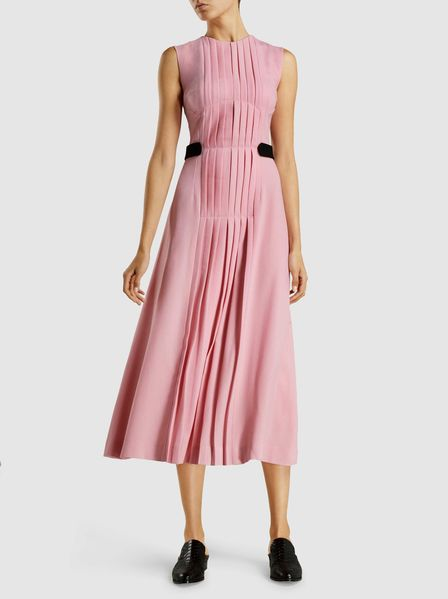 A sweet dress for those of you who don't wear collars to warm-weather church gatherings. The length cuts the saccharine of the pleats and color.