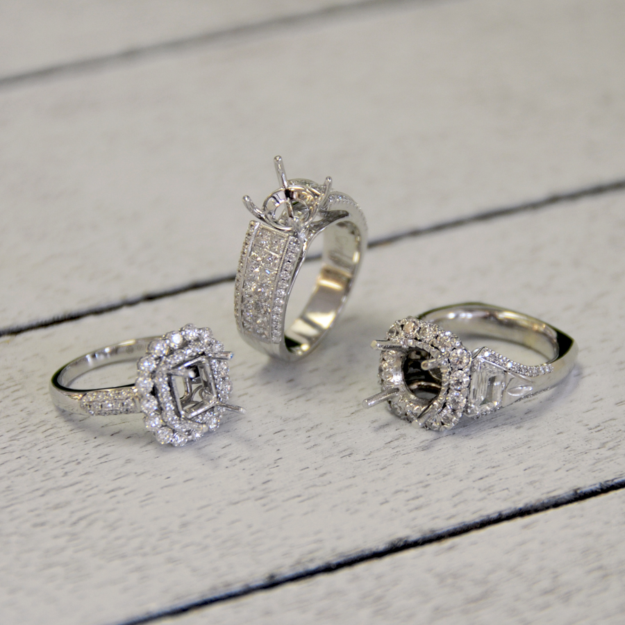 White Gold and Platinum Diamond Remounts