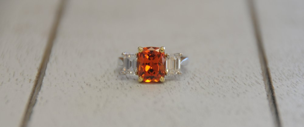 Spessartite Garnet and Diamond Ring