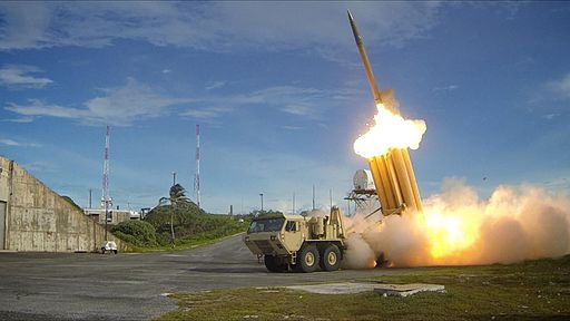THAAD Interceptor during successful intercept test. THAAD is an anti-ballistic missile system designed to shoot down short, medium, and intermediate range ballistic missiles in their terminal phase using a hit-to-kill approach.