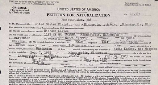 Michael Karkoc's Petition for Naturalization in the United States