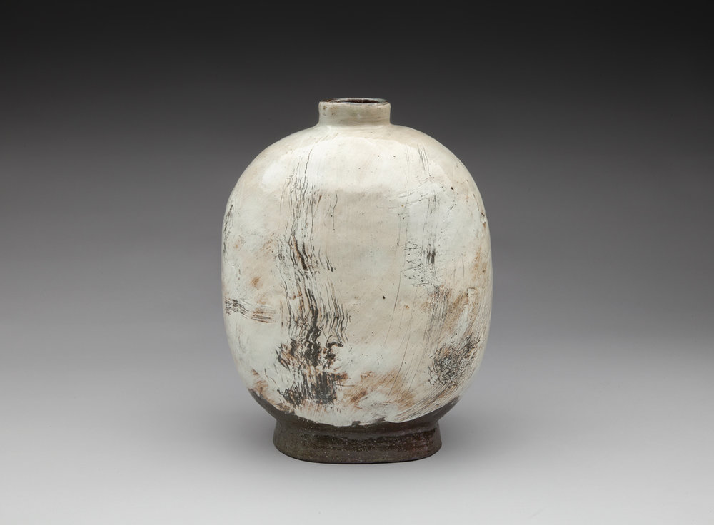 A Wind Flower2012 Lee Kang Hyo (b. 1961) stoneware with white slip and ash glaze from Mindy Solomon Gallery