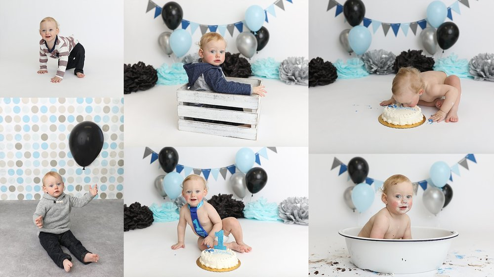 This little dude was all about the cake, he even stuck his face in it. There is no way better to clean up from a cake smash, then a post cake smash bath! This is especially great, for the babies who hate the cake :P