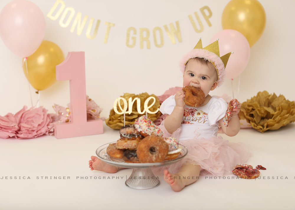 Donut First Birthday Cake Smash Themed Grow Up