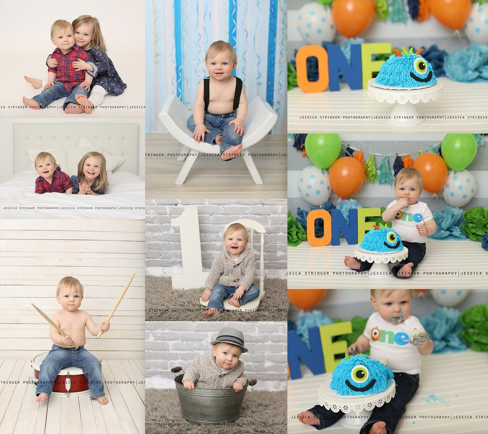 First birthday monster themed cake smash photos session