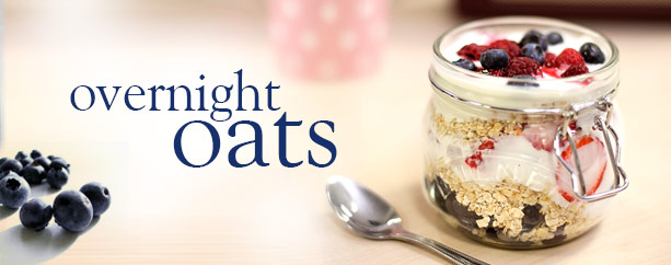 OVERNIGHT OATS   1. ADD 1 cup water or2% milk, poured over your favorite dry oats !  2. Combine everything into a bowl except ** for nuts if you want to keep them crunchy.   Stir well.  Keep in an sealed container.  3. Set in fridge overnight.  4. Eat in the morning!        Eat cold or heat up if desired.  **Add any toppings when you are ready to eat... bananas, strawberries, raisins, dates, nuts, cranberries, etc..