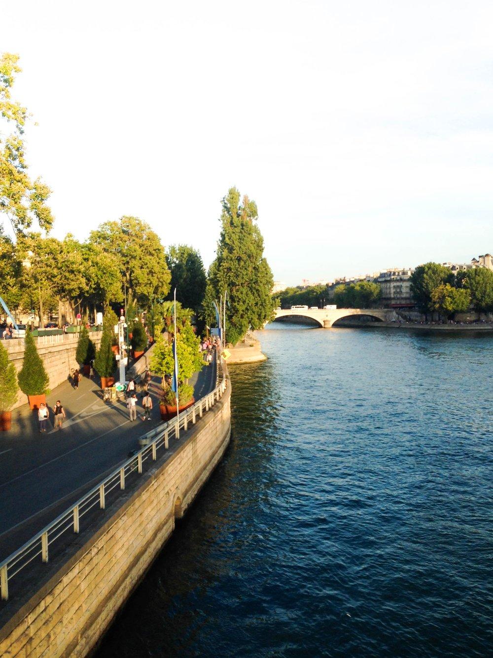 Along the Seine in Paris, France