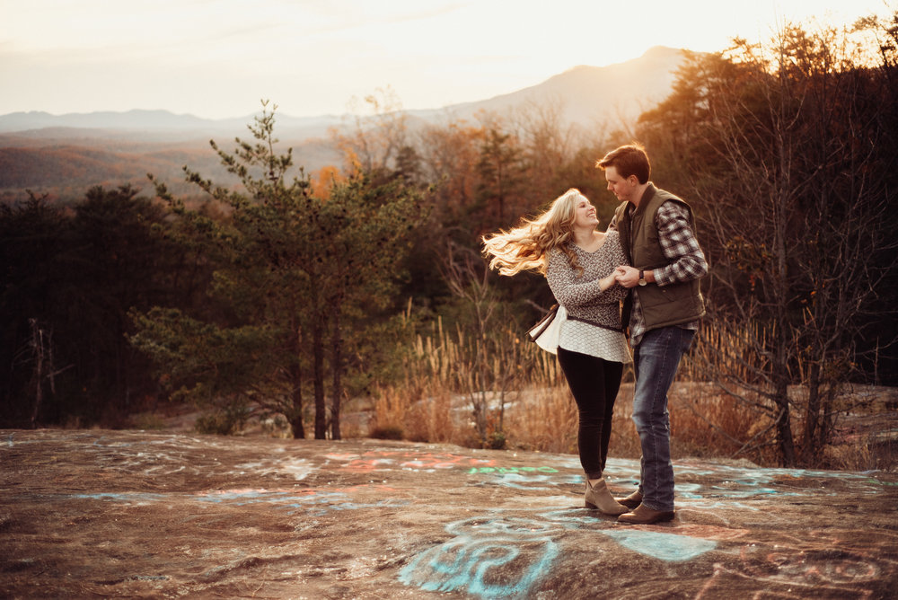 Golden mountain top engagement session