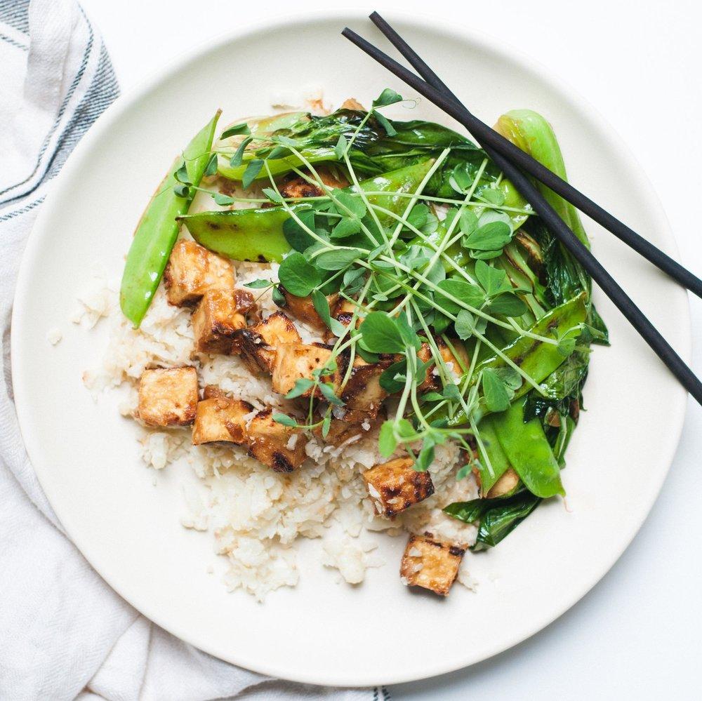Crispy Peanut Tofu on Garlic Fried Cauliflower Rice