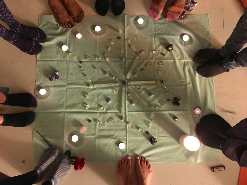 '17 February Pisces New Moon Circle Crystal Grid