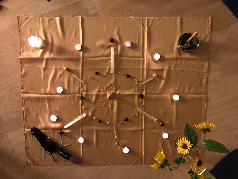 '17 July Leo New Moon Circle Crystal Grid