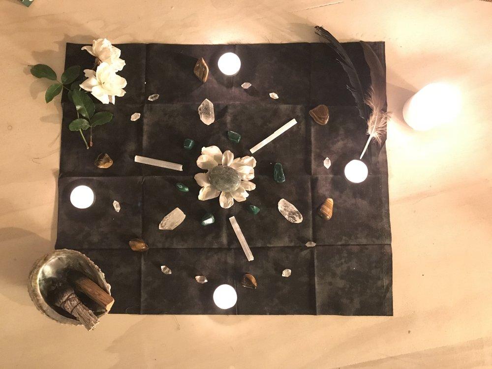 '17 November Scorpio New Moon Circle Crystal Grid