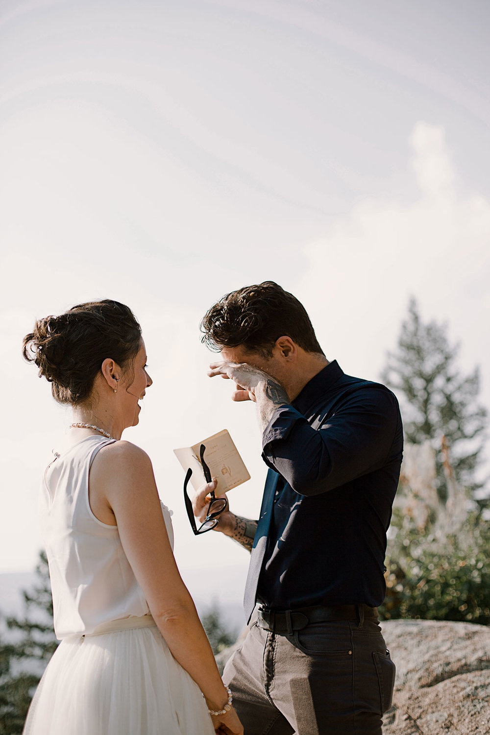 groom crying, intimate elopement, intimate boulder colorado elopement, boulder colorado wedding photographer, adventurous elopement photographer, colorado elopement photographer