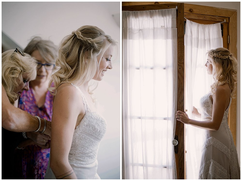 Bride putting on dress, Bride getting ready photos, intimate colorado wedding photographer, adventurous colorado wedding photographer, marble colorado wedding, marble lodge wedding