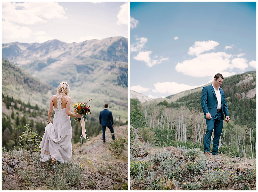 Bride and groom first look, adventurous first look, maroon bells wilderness wedding, adventure wedding, intimate colorado wedding photographer, adventurous colorado wedding photographer