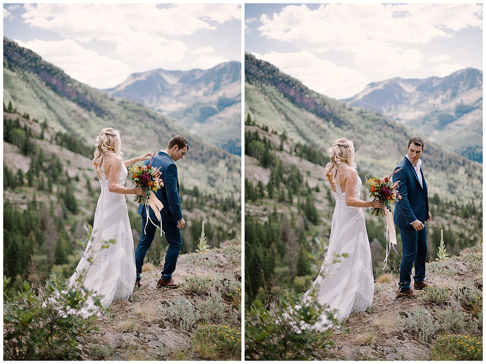 bride and groom first look, first look in maroon bells wilderness wedding, adventurous colorado wedding photographer, adventure wedding, marble colorado wedding
