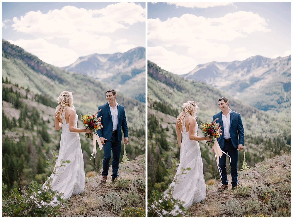 bride and groom first look, adventurous first look, maroon bells wilderness wedding, adventurous colorado wedding photographer, marble colorado wedding