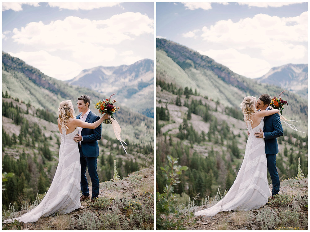 bride and groom first look, adventurous first look, maroon bells wilderness wedding, marble colorado wedding, adventurous colorado wedding photographer, intimate colorado wedding photographer