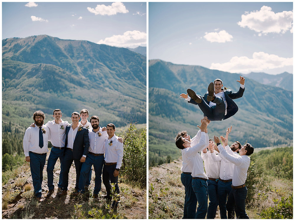 groom and groomsmen in the mountains, marble colorado wedding, marble lodge wedding, maroon bells wilderness wedding, adventurous colorado wedding photographer, adventure wedding