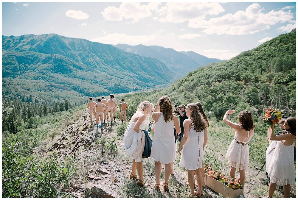 groom and groomsmen get naked, naked in nature, adventurous colorado wedding photographer, adventure wedding, marble colorado wedding