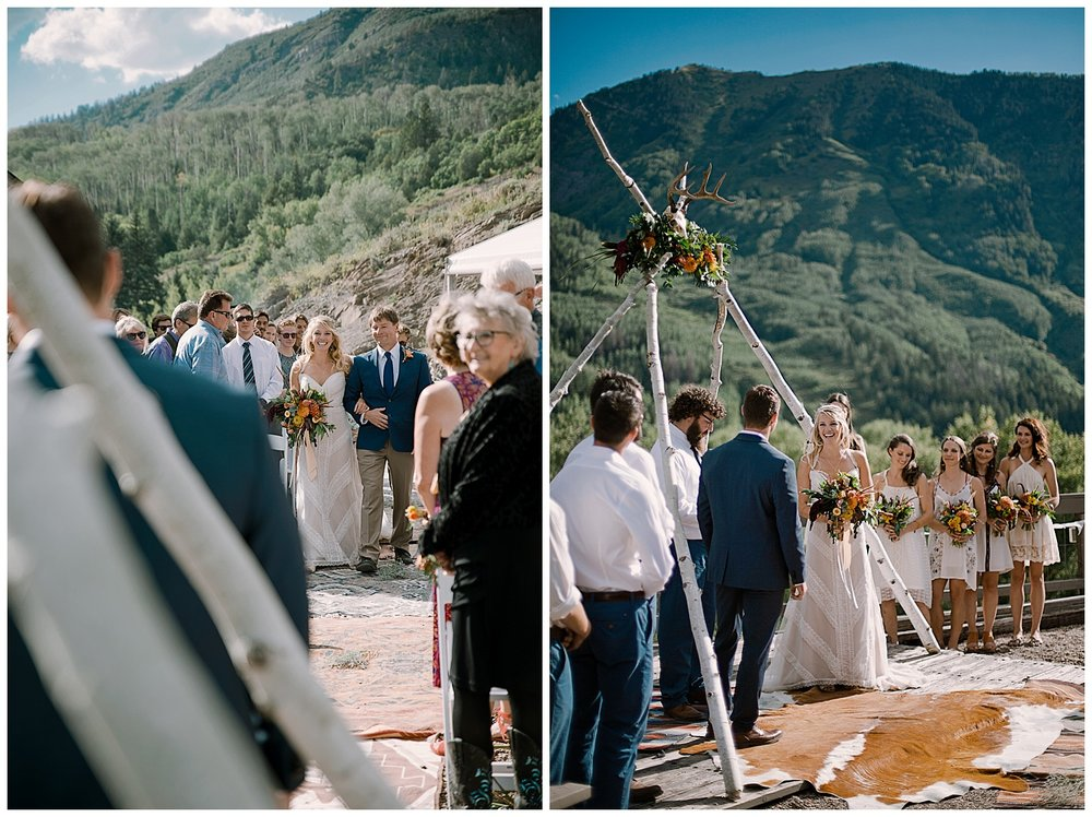 bride walking down the aisle, outdoor colorado wedding ceremony, adventurous colorado wedding photographer, marble colorado wedding, marble lodge wedding, adventure wedding