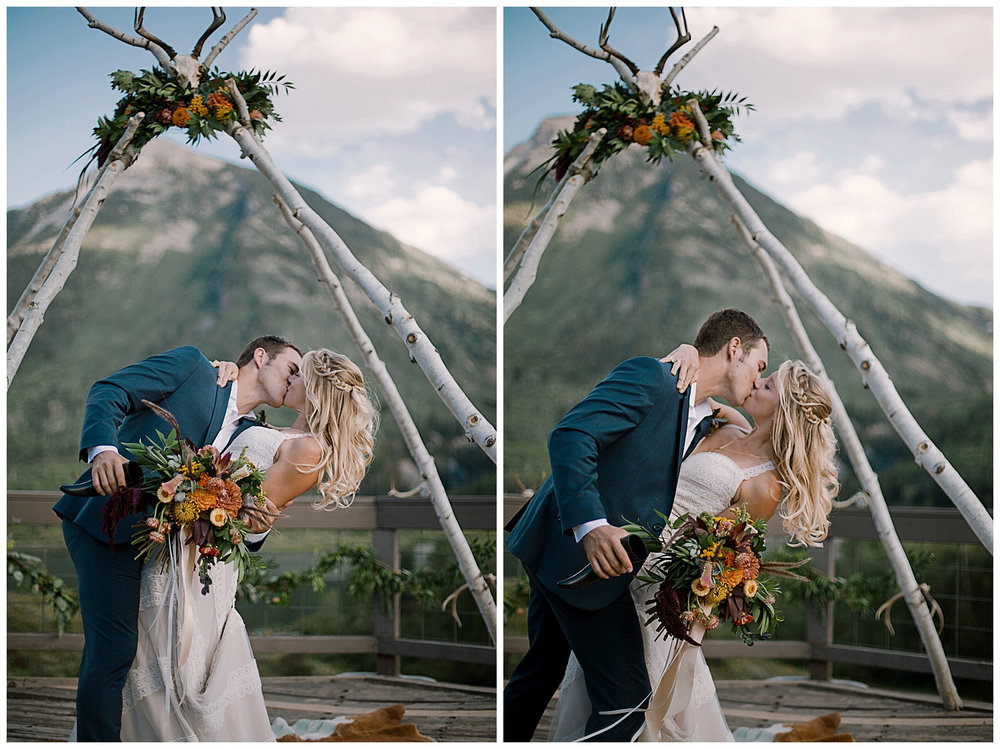 bride and groom kissing, groom dipping bride, outdoor colorado wedding, adventurous colorado wedding photographer, marble lodge wedding, marble colorado wedding