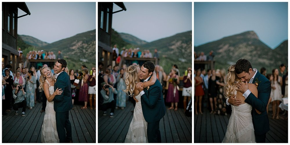 bride and groom first dance, outdoor colorado wedding, marble colorado wedding, marble lodge wedding, adventurous colorado wedding photographer, wedding reception