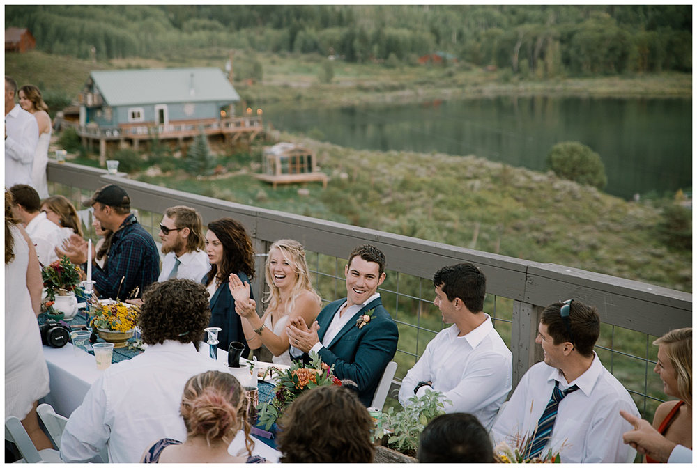 bride and groom reception, outdoor colorado wedding, marble colorado wedding, marble lodge wedding, adventurous colorado wedding photographer