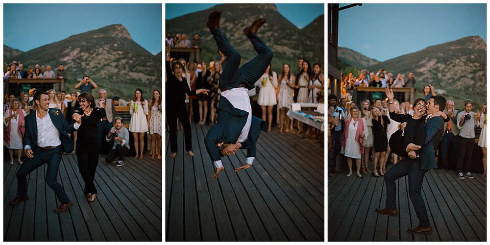 epic mother son dance, groom backflip, outdoor colorado wedding, marble lodge wedding, marble colorado wedding, adventurous colorado wedding photographer