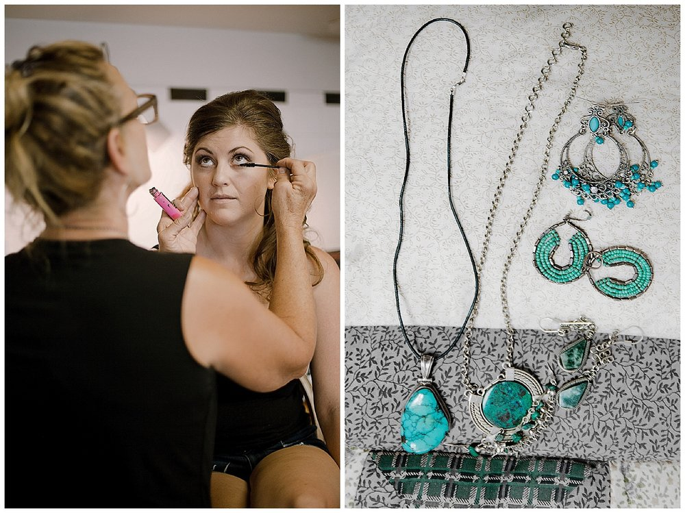 Bridesmaid getting ready, turquoise jewerly, wedding details, intimate colorado wedding photographer, adventurous colorado wedding photographer, marble lodge wedding, marble colorado wedding